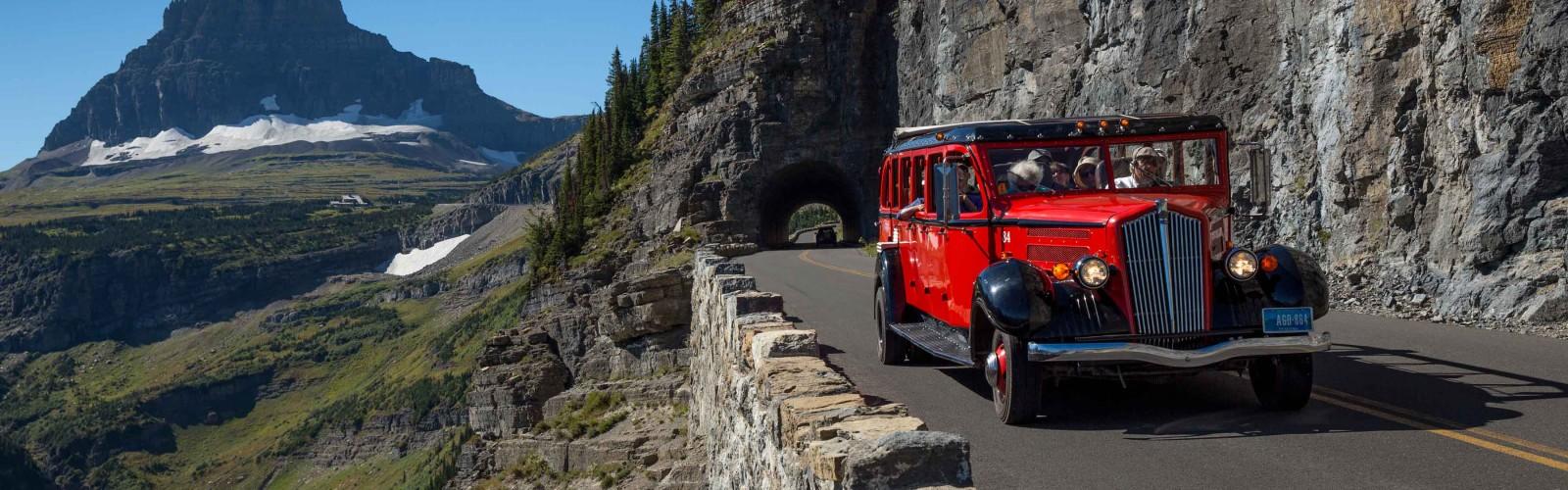 Jammer bus , glacier national park red jammer bus tours