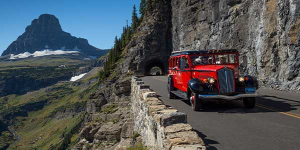 Red Bus Going to the Sun Road