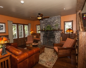 Cobb Suite Main Room with Fireplace