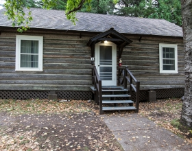 Lake McDonald Cabin exterior shot of cabin