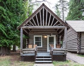 Lake McDonald Lodge and Cabins exterior shot of cabin