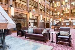 Many Glacier Hotel Lobby Fireplace Sofa